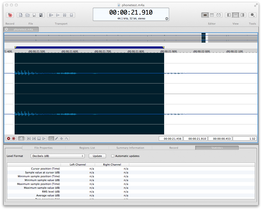 Sound Forge screenshot analyzing the phone recording