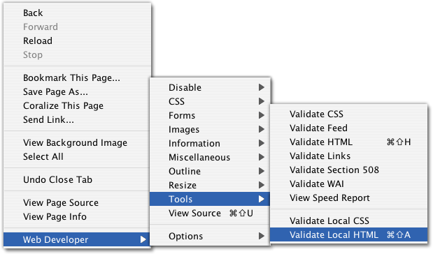 A screenshot of the Web Developer context menu